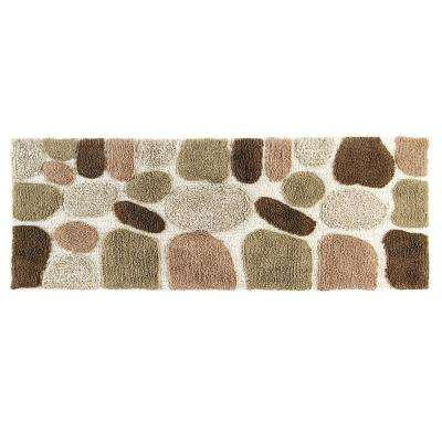 24 in. x 60 in. Pebbles Bath Rug Runner in Khaki