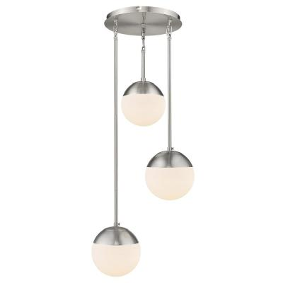Dixon 3-Light Pendant in Pewter with Opal Glass and Pewter Cap