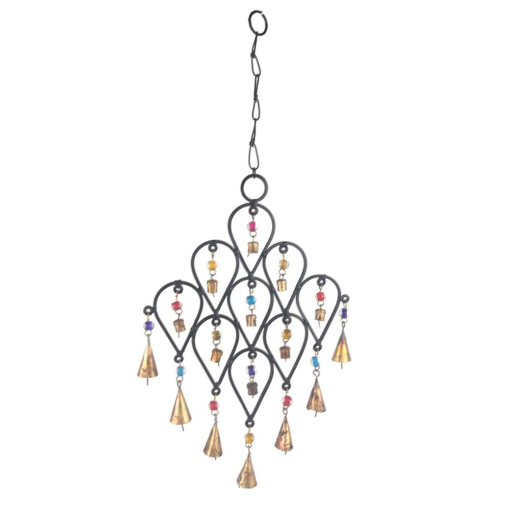 22 in  inverted drop beaded wrought iron wind chime with