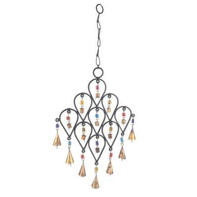 22 in. Inverted Drop Beaded Wrought Iron Wind Chime with Metal Bells