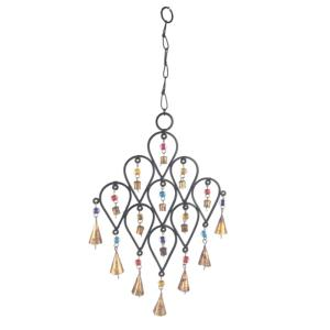 22 inch Inverted Drop Beaded Wrought Iron Wind Chime with Metal Bells by