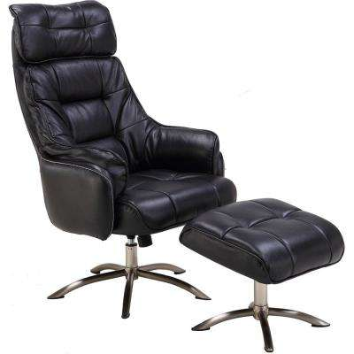 Parker PU Leather Black Office Chair with Ottoman