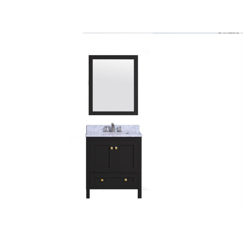 31 in. W x 22 in. D Vanity in Espresso with Marble Vanity Top in white and Gray with White Basin and Mirror