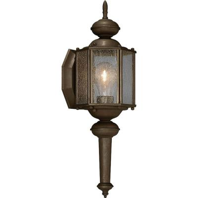 Roman Coach Collection 1-Light 13.5 in. Outdoor Antique Bronze Wall Lantern Sconce