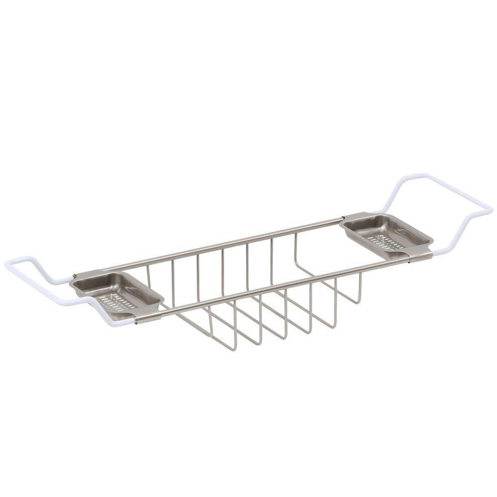 26-3/4 in. - 34-3/4 in. Adjustable Length Leg Tub Shelf in Satin Nickel
