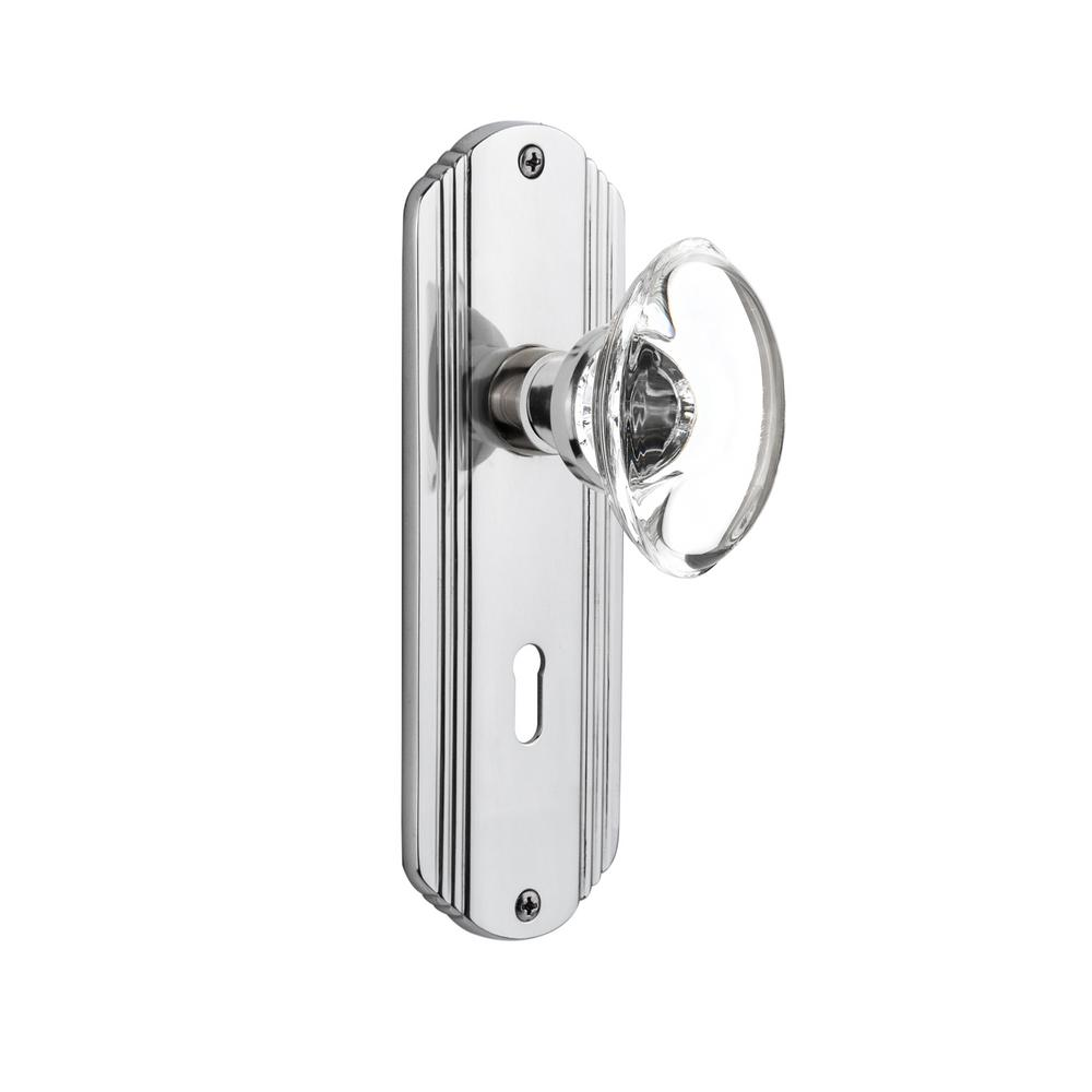 Deco Plate with Keyhole Double Dummy Oval Clear Crystal Glass Door
