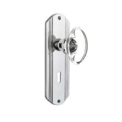 Deco Plate With Keyhole Double Dummy Oval Clear Crystal Glass Door Knob ...