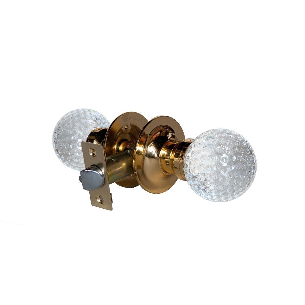 Golf Ball Crystal Brass Passive Door Knob with LED Mixing Lighting