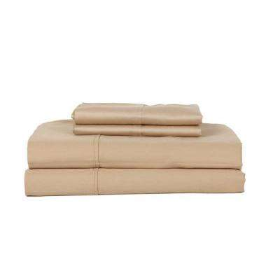 Perthshire Platinum 3-Piece Taupe Solid 450 Thread Count Cotton Twin Sheet Set