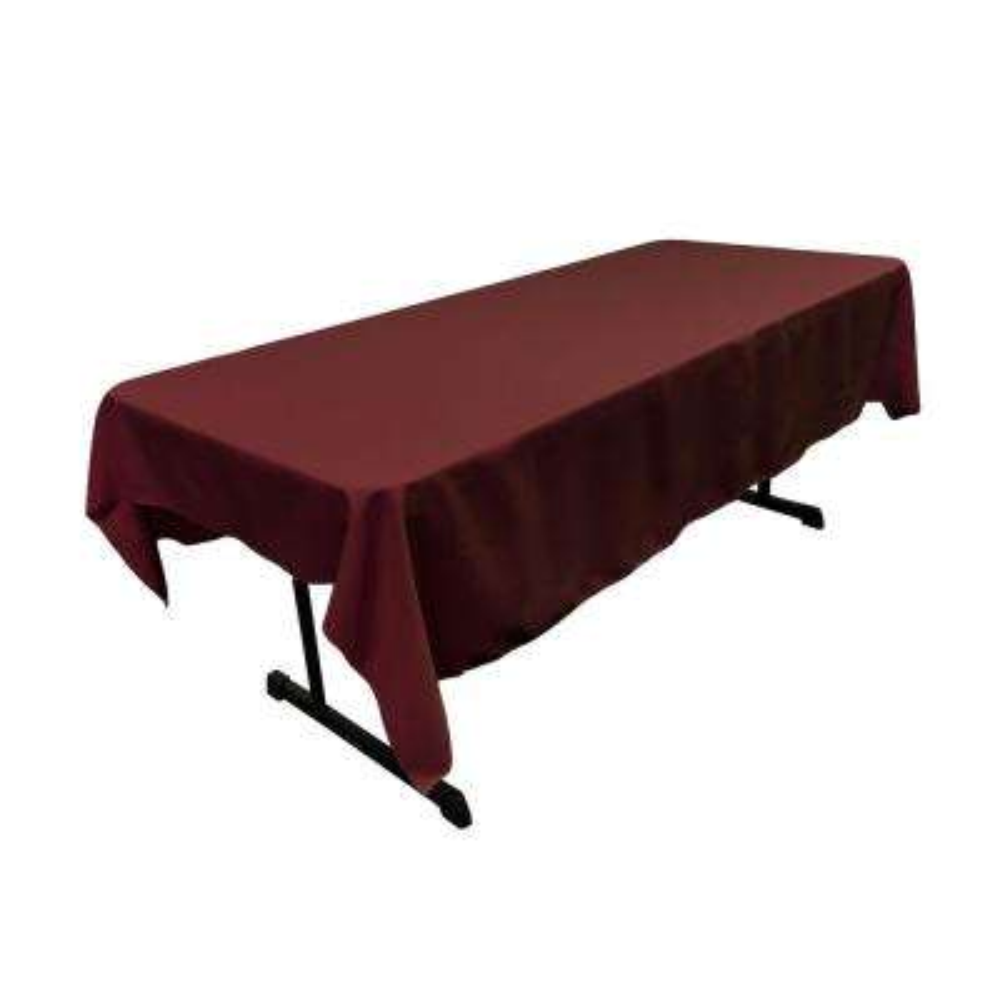60 in. x 90 in. Burgundy Polyester Poplin Rectangular Tablecloth