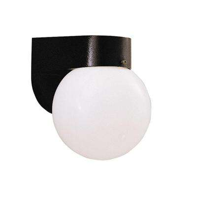 1-Light Solid Black Fluorescent Outdoor Wall Lantern with Frosted Glass