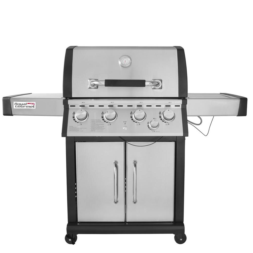 Deluxe 4-Burner Patio Propane Gas Grill in Stainless steel with Side