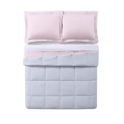 Everyday 3-Piece Blush and Silver Grey Full/Queen Comforter Set