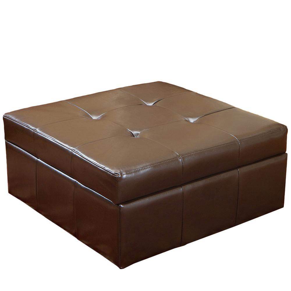 Chatsworth Brown Leather Storage Ottoman