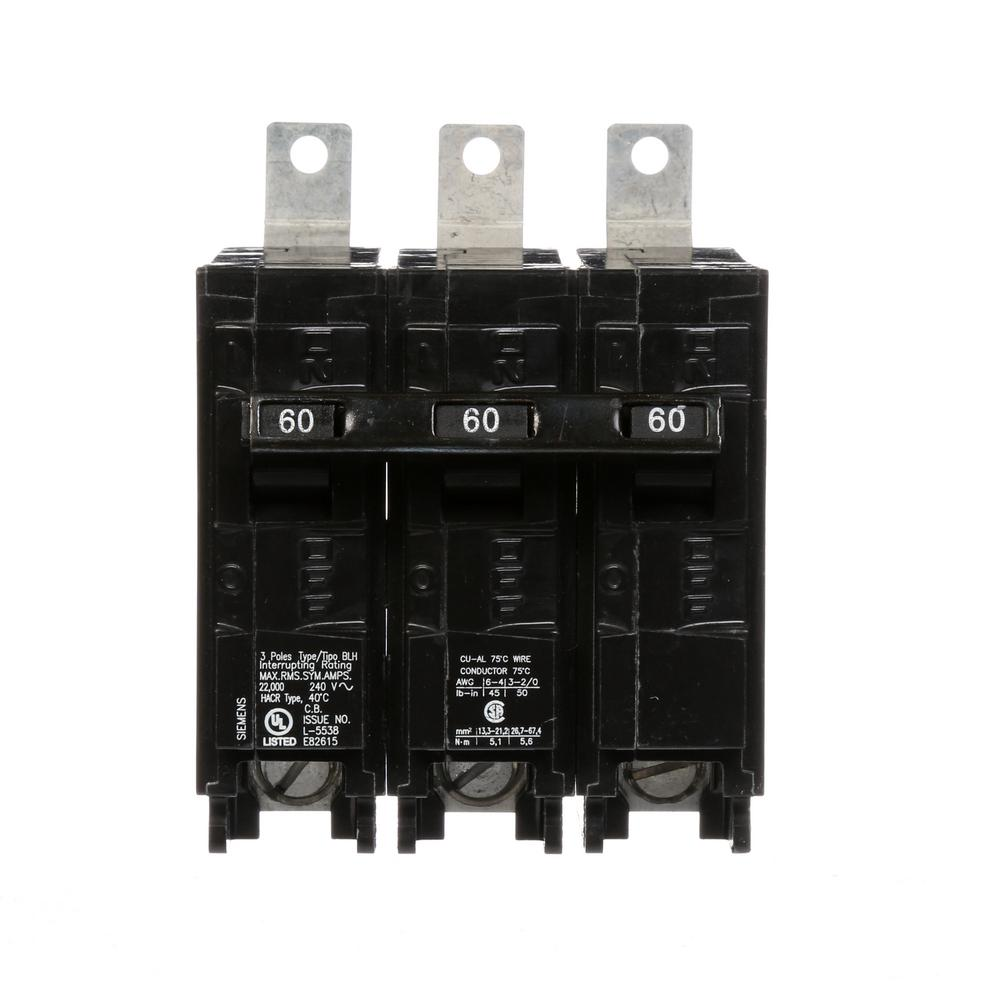 siemens 60 amp 3 pole type blh 22 ka circuit breaker b360h the home depot. Black Bedroom Furniture Sets. Home Design Ideas