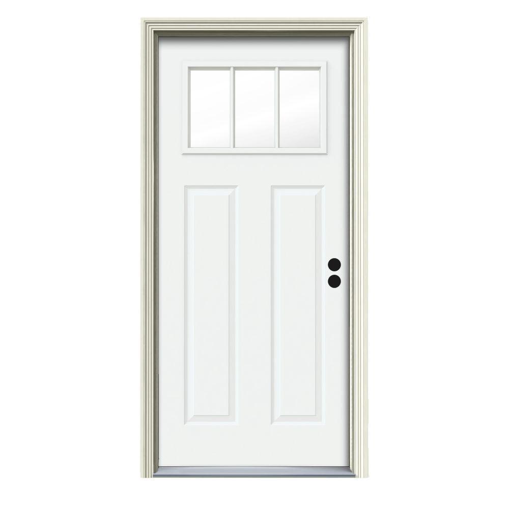 JELD-WEN 34 in. x 80 in. 3 Lite Craftsman White Painted Steel Prehung Left-Hand Inswing Front Door w/Brickmould