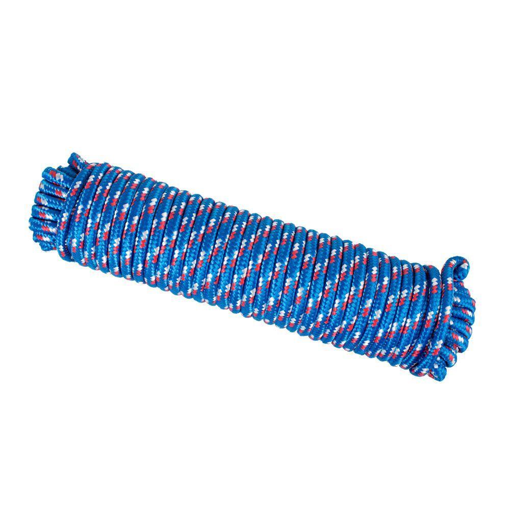 3/8 in. x 100 ft. Diamond Braid Polypropylene Rope - Blue