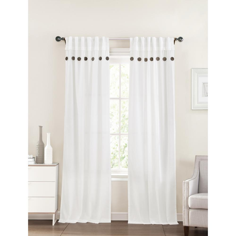 40 In X 96 Eleanor White Polyester Curtain