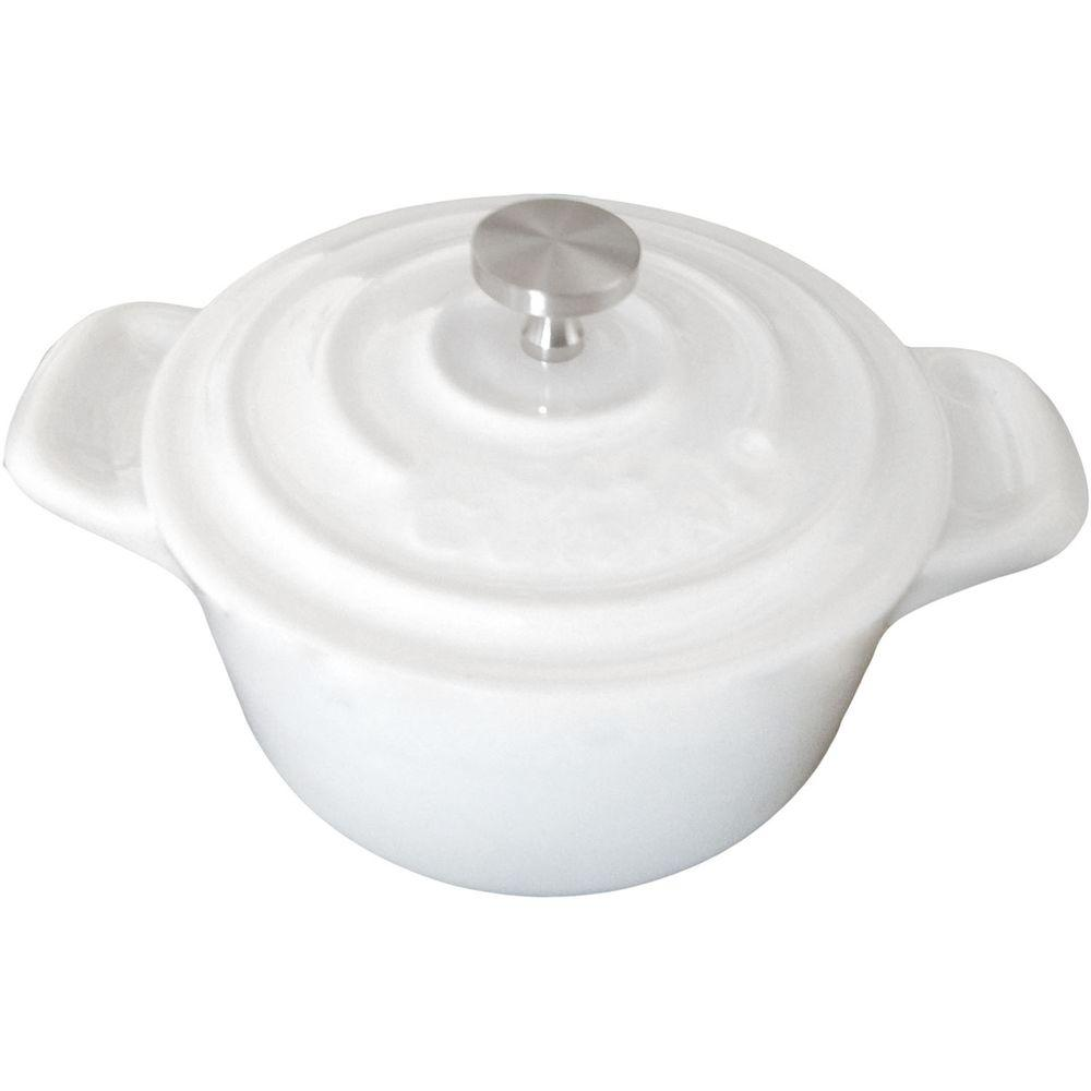 La Cuisine 4 in. Mini Round Cast Iron Casserole Dish in White