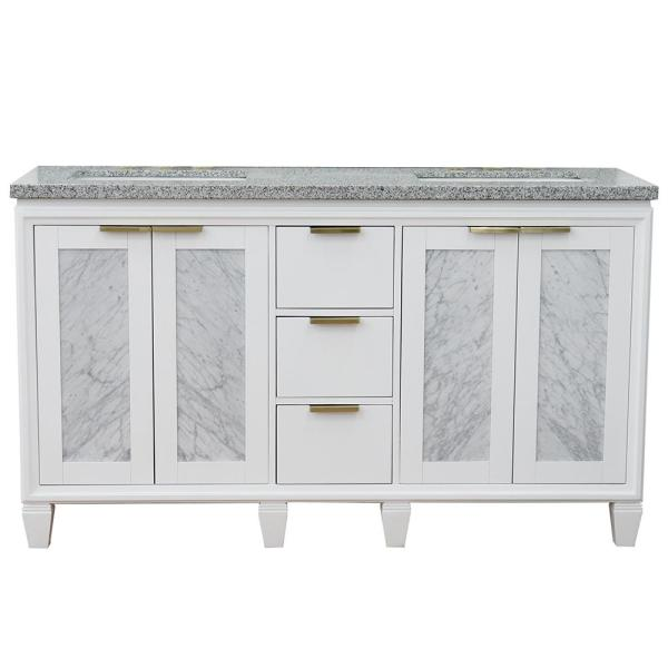 61 in. W x 22 in. D Double Bath Vanity in White with Granite Vanity Top in Gray with White Rectangle Basins