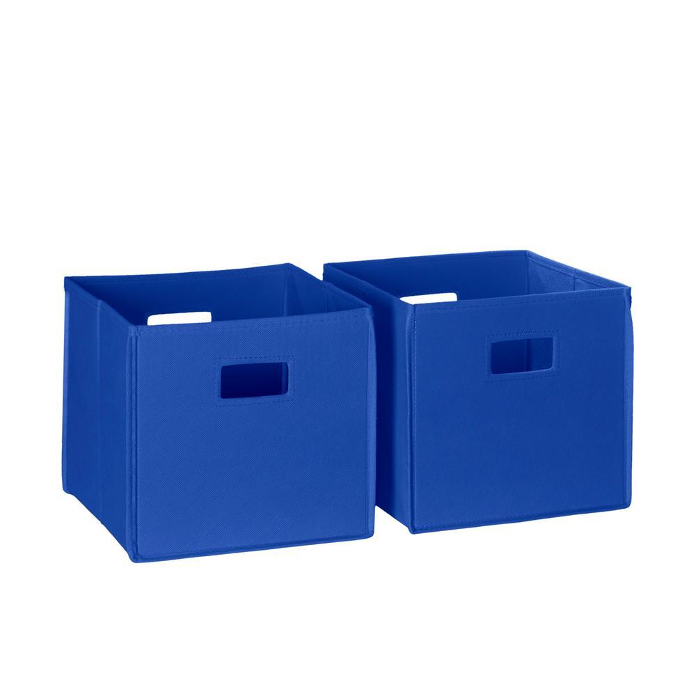 10.5 in. x 10 in. Blue Folding Storage Bin Set Organizer (2-Piece)