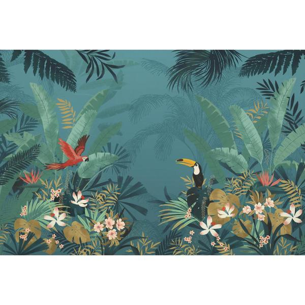 98 in. x 145 in. Blue Enchanted Jungle Wall Mural
