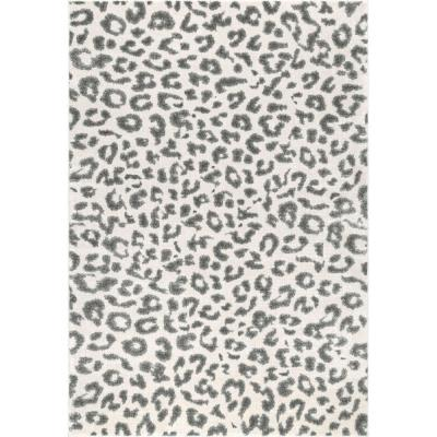 Leopard Print Gray 3 ft. x 5 ft. Area Rug
