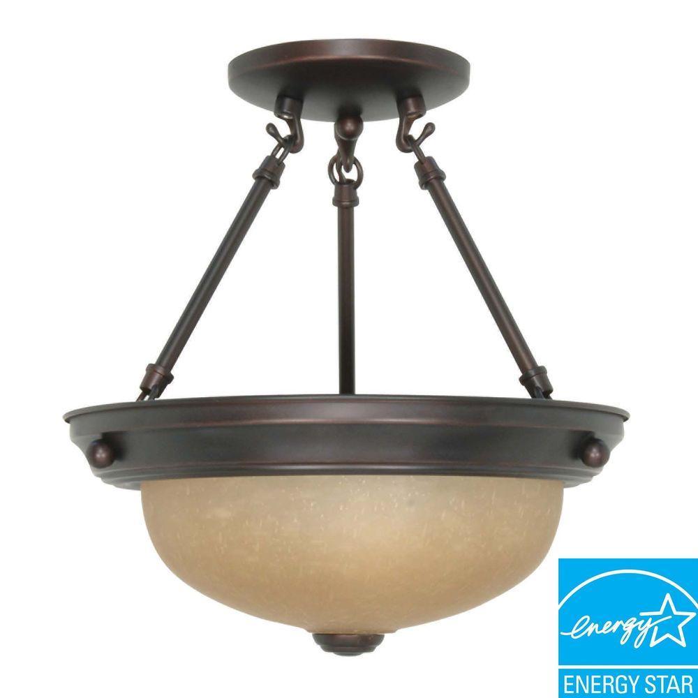 Green Matters 2-Light Mahogany Bronze Semi-Flush Mount Dome Light