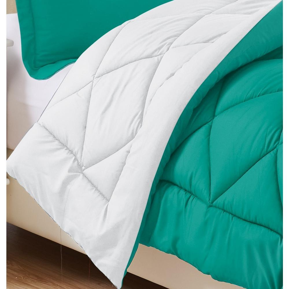 3-Piece Turquoise/White King Comforter Set