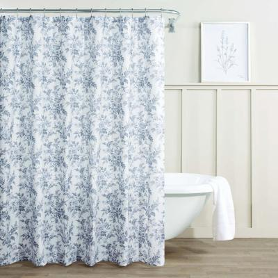 Annalise Floral Grey Cotton 72in. X 72in. Shower Curtain