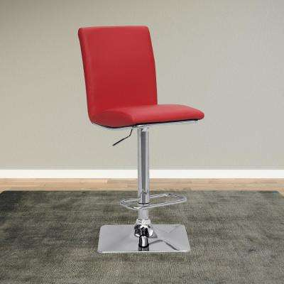 Adjustable Height Red Bonded Leather Swivel Bar Stool (Set of 2)