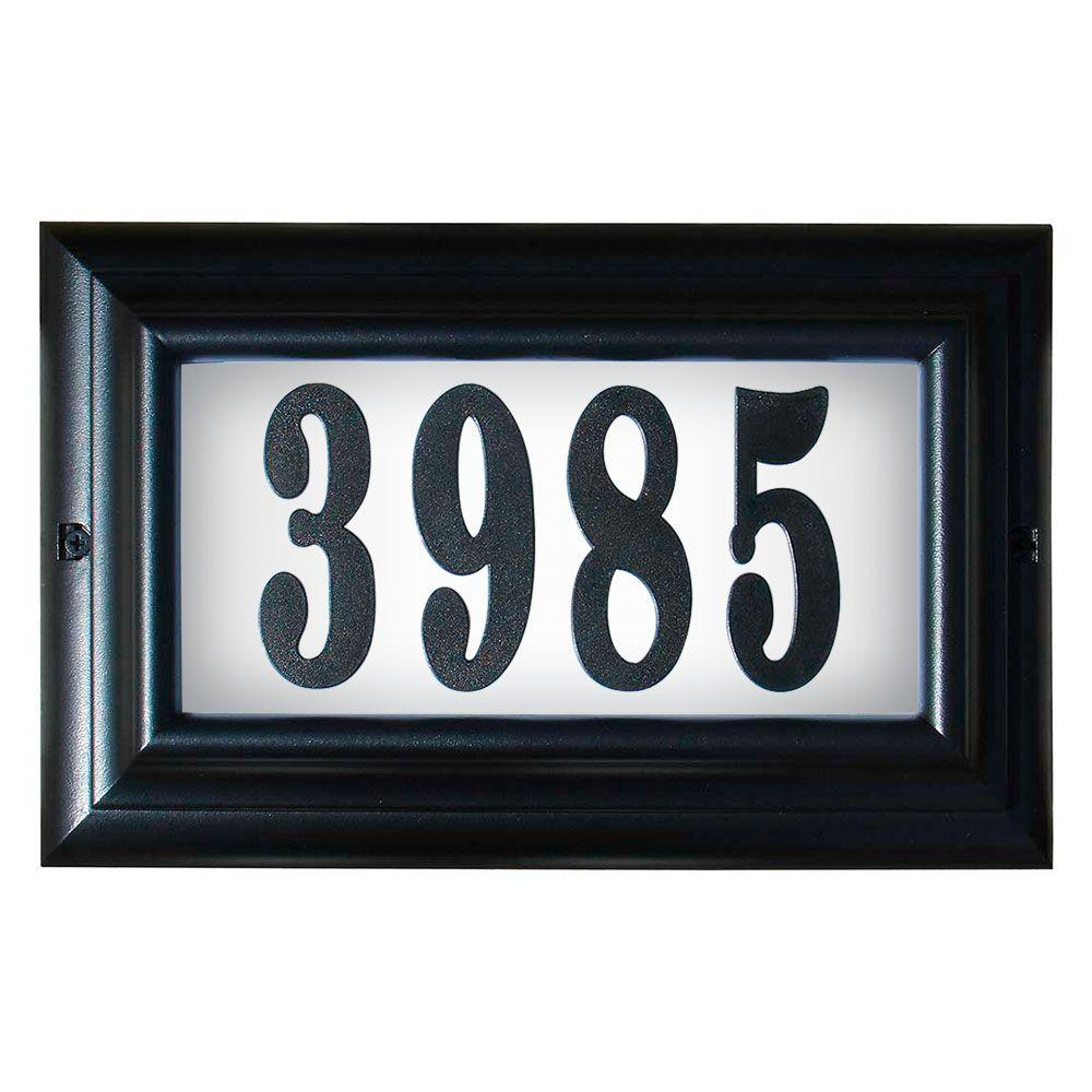 qualarc edgewood large aluminum lighted address plaque ltl 1301 bl led pn the home depot. Black Bedroom Furniture Sets. Home Design Ideas