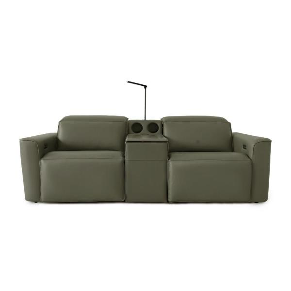 Gray Reclining Power Sofa with Reading Light Bluetooth Audio Wireless charge and Deep Storage Compartment