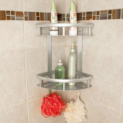 Aluminum Corner Shower Caddy with Wall Mount Adhesive Sticker Screws No Drill Install in Silver
