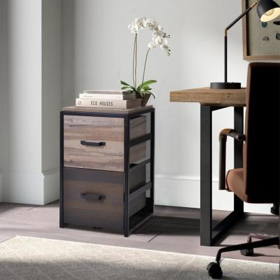 Brown MDF Vertical File Cabinet with 2-Drawers