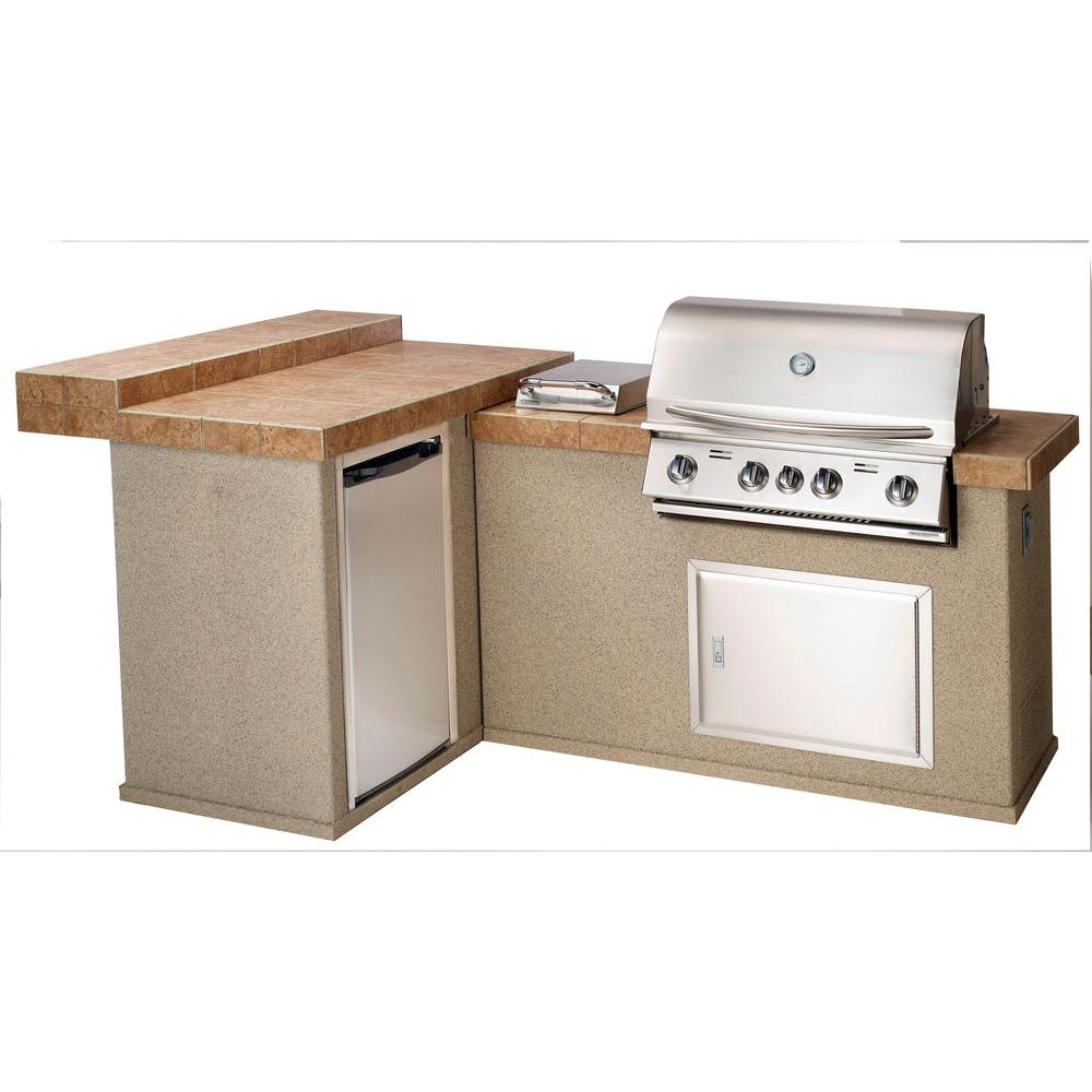 Bullet Moab Outdoor Kitchen with 4-Burner Built-In Natural Gas Grill in Stainless Steel