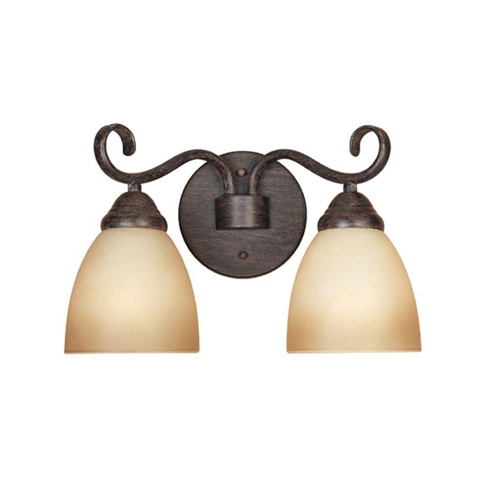 Belle Vista Collection 2-Light Warm Mahogany Wall Mount Vanity Light