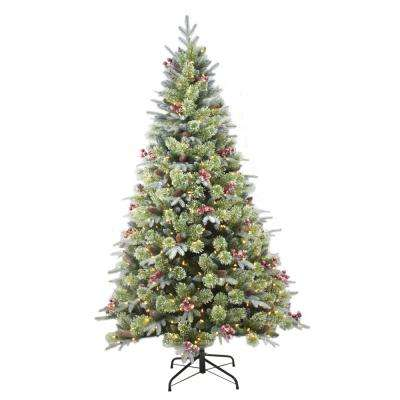 7.5ft Frosted Artificial Christmas Tree with 450 warm white LED lights and quick connect pole