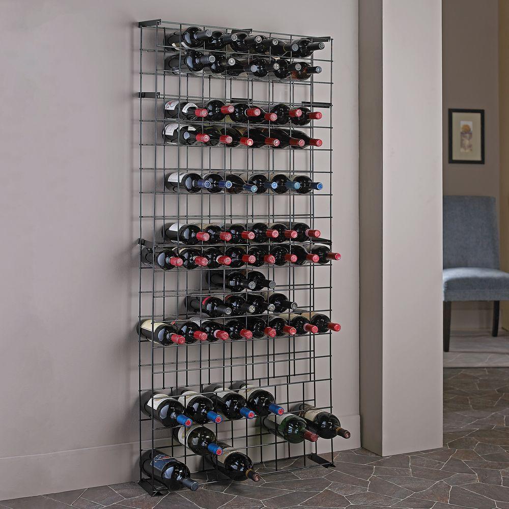 138-Bottle Black Floor Wine Rack