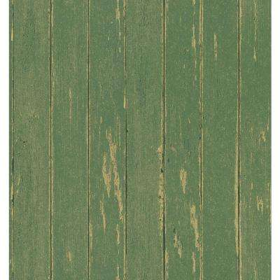 Northwoods Lodge Green Weathered Plank Wallpaper Sample