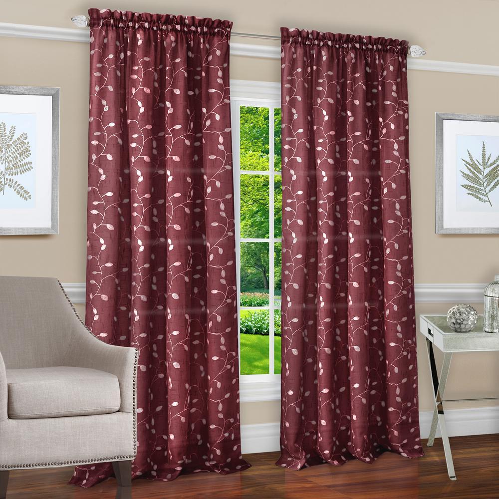 Chloe Marsala Polyester Rod Pocket Curtain - 50 in. W x 63 in. L