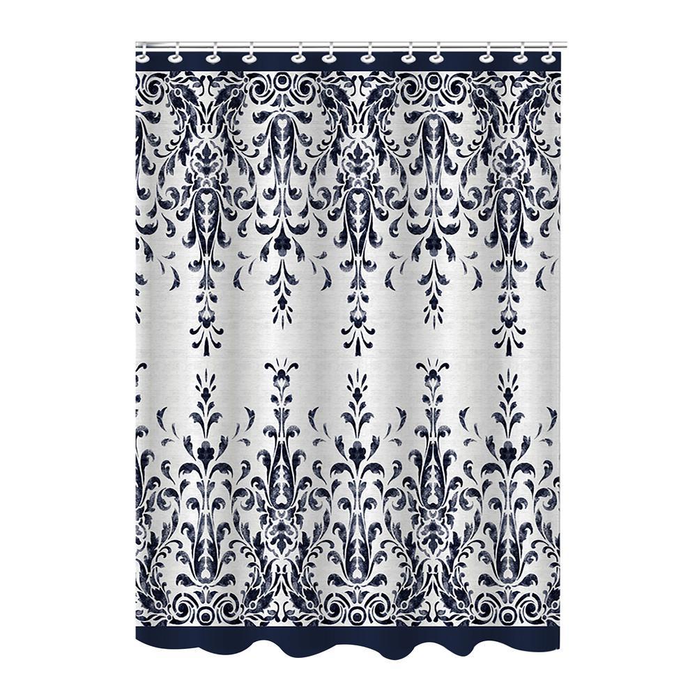 Black Polyester European Shower Curtain