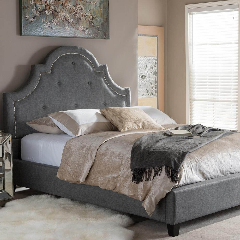 Colchester Transitional Gray Fabric Upholstered King Size Bed