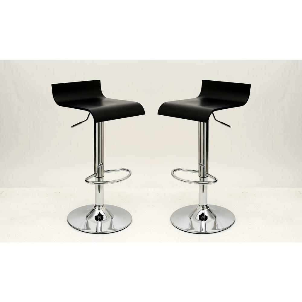 Manhattan Comfort Practical Ludlow Black Barstool With Height Adjuility Set Of 2 Mc 643 The Home Depot