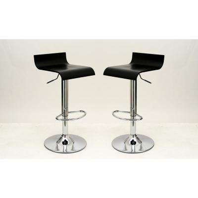 Practical Ludlow Black Barstool with Height Adjustability (Set of 2)