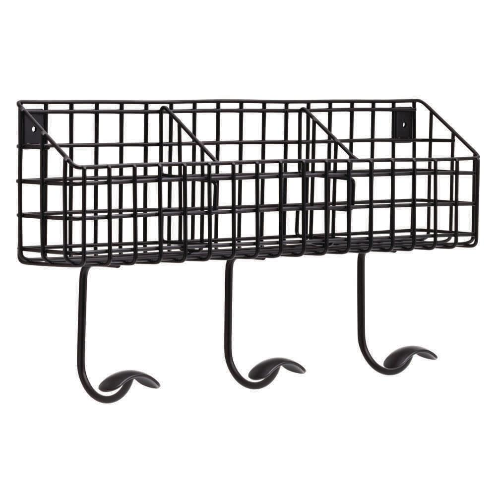 17-3/4 in. Flat Black Industrial Basket with 3 Hooks