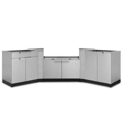 Stainless Steel 5-Piece 154 in. W x 36.5 in. H x 24 in. D Outdoor Kitchen Cabinet Set