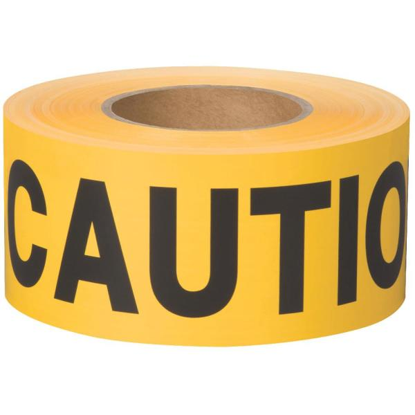 3 in. x 1000 ft. Yellow BT 100 Non-Adhesive Barricade Caution Flagging Tape (1-Roll)