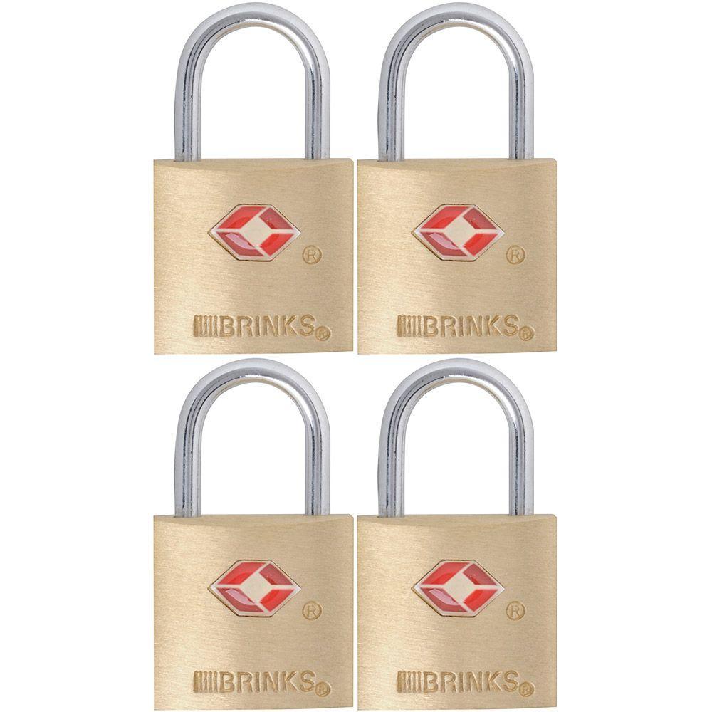 7/8 in. (22 mm) Brass Keyed Lock (4-Pack)