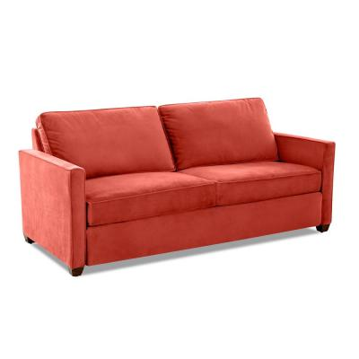 Miranda 86 in. Rouge Fabric 2-Seater Queen Sleeper Sofa Bed with Square Arms